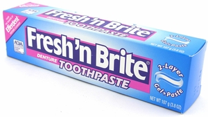 Example of denture toothpaste Picture taken from www.shopinprivate.com/frnbrdeto.html