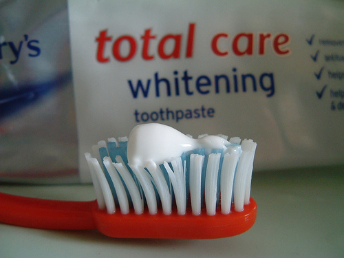 Simple stain removal with toothbrush and toothpaste